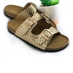Shoes - Rich Textured Gold Birkenstock like Sandals